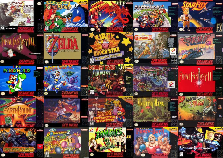 Un échantillon des jeux sortis sur Super Nintendo