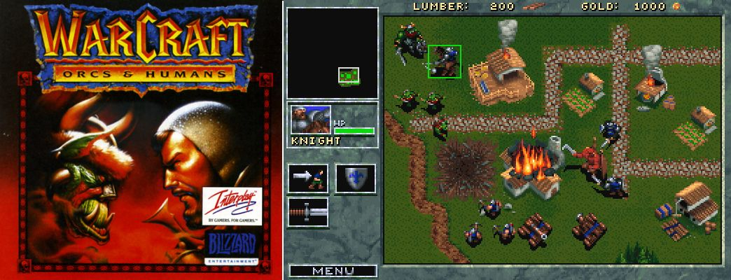 Couverture de Warcraft I (gauche) et gameplay (droite) – (1994) – Blizzard Entertainment